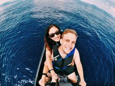 """Jet skiing in Lake Tahoe, Nevada. Photo by Melody Asgari who wrote, """"Also pictured is my boyfriend of two years, Max. We both love photography and take my GoPro pretty much everywhere we go""""."""