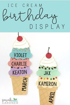 These bulletin board pieces will brighten up your classroom birthday display! They are also editable, so you can type your students' names right on each scoop - no messy permanent marker! Two options for cones are included! Preschool Birthday Board, Birthday Bulletin Boards, Birthday Wall, Toddler Bulletin Boards, Kindergarten Classroom Decor, Preschool Bulletin, Classroom Themes, Seasonal Classrooms, Toddler Classroom Decorations