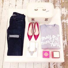 .@Giselle Shop | Cute outfit! #ootd #denim #redheels #sparkle | Webstagram