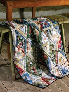 Modified Log Cabin Quilt in Plaids