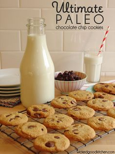 Ultimate Paleo Chocolate Chip Cookies from Wicked Good Kitchen. I want to try these and see if maple syrup will work since agave nectar is really bad for you. Paleo Chocolate Chip Cookies, Paleo Cookies, Paleo Sweets, Paleo Dessert, Dessert Recipes, Whole Food Recipes, Cooking Recipes, Vegan Recipes, Paleo Baking
