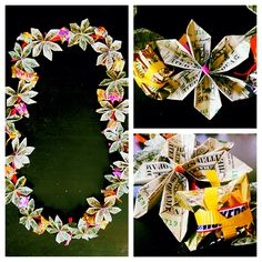 This is a money/candy lei I made for my sister for graduation. Here is the website I used to make the flowers out of dollar bills http://www.homemade-gifts-made-easy.com/origami-money-flowers.html  I then just tied ribbon around the middles and tied them to a thicker ribbon with small pieces of candy inbetween the flowers. Fairly easy but it is time consuming depending on how many flowers you want to make. Artist, me, Rachel Lackowski :)