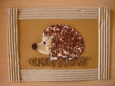 Mosaique. Imprimer le dessin d'hérisson. Le coller sur une feuille. Encadrer des… Fall Crafts, Crafts For Kids, Hedgehog Craft, Drawing, Preschool, Creations, Birds, Laque, Homemade