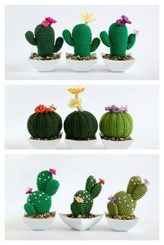 Crochet Amigurumi Crochet Cactus Amigurumi - Do you want to have some beautiful cactus which never needs watering and never dies? You can crochet some with Desert Cactus Amigurumi Crochet Patterns. Crochet Puff Flower, Crochet Flower Patterns, Crochet Flowers, Crochet Cactus Free Pattern, Crochet Ideas, Crochet Hook Set, Cute Crochet, Crochet Art, Crochet Vintage