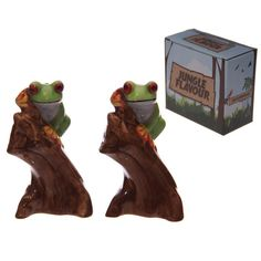 Funky Tree Frog Design Ceramic Salt and Pepper Set  Fun, funky and practical, we must be talking about our range of ceramic salt and pepper sets.  Made from food safe ceramics our salt and pepper sets make a great gift as they all come in a matching decorative gift box.  Dimensions: Height 10.5cm, Width 6cm, Depth 5.5cm