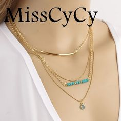 Misscycy 2016新しいファッショントップ品質ジュエリーボヘミアスタイル合成ターコイズ青い目葉ステートメントネックレス用女性