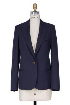 Navy Blue Wool Single Button Blazer