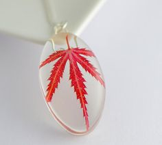OAAK necklace red leaf jewelry real red leaf by OrioleStudio