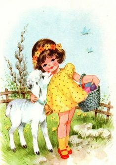 Vintage Cards, Vintage Postcards, Vintage Images, April Easter, Easter Art, Vintage Easter, Vintage Holiday, Holly Hobbie, Retro Illustration