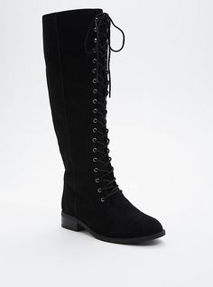 Plus Size Genuine Suede Lace Up Knee-High Boots (Wide Width & Wide Calf), BLACK