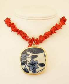 SALE  Pottery Shard Necklace  Red Bamboo Coral by MagnoliaStudio, $32.00  Use coupon code: BNS15 for 15% OFF this necklace.