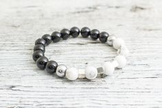 Black onyx and white howlite beaded stretchy #bracelet with silver plated hematite cubes and balls, mens bracelet, womens bracelet