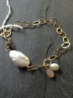 Gold Fill Chain, Freshwater Pearls, Peach Moonstone Bracelet, $30.00