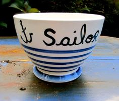 "Blue and white striped milk coffee bowls. Navy touch, with inscription and ""SAILOR"" anchors. Boat Decor, Funky Jewelry, Blue And White, Touch, Coffee, Tableware, Navy Sailor, Sea Side, Boutique Etsy"