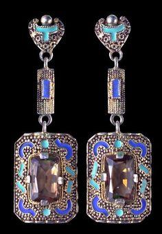 A pair of Art Deco gilded silver, enamel, smokey quartz earrings, by Theodor Fahrner, German, circa 1928. Signed 'TF'. Length 5cm. #Fahrner #ArtDeco #earrings