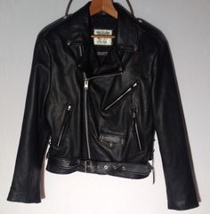 Black Biker Motorcycle Jacket Wilsons Open Road Punk Grunge Thinsulate S  #bikerjacket #punk