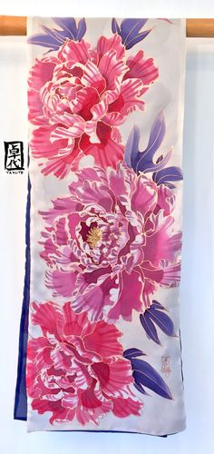 Hand Painted Silk Scarf ETSY ASAP Large Reversible Scarf