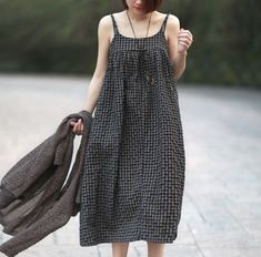 Vintage Mori Girl Plaid Cotton Linen Spaghetti Strap Long Dress Elegant Lady Casual Loose Summer Beach Dress Women Tunique Robe-in Dresses from Women's Clothing & Accessories on Aliexpress.com | Alibaba Group