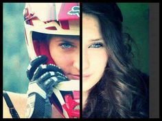 Motocross girl – Dirt Doll Baby – Great image showing the two sides ♥ – beaux sport voitures Motocross Love, Motocross Girls, Girl Dirtbike, Motocross Gear, Biker Chick, Biker Girl, Moto Off Road, Motocross Photography, Bike Photography