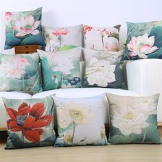 Retro Chinese Style Lotus Creative Cotton Seat Cushion Office Car Sofa Home Decoration Cushion Cover Pillow Case 45X45 cm-in Cushion Cover from Home & Garden on Aliexpress.com | Alibaba Group