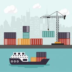 Container ship at freight port terminal unloading Freight Transport, Cargo Transport, Movers Nyc, City Movers, Lng Carrier, School Wide Themes, Export Business, Freight Forwarder, Cargo Services