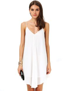 White Spaghetti Strap Backless Loose Dress pictures