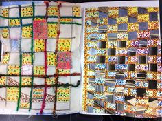 Photo weave inspired by built environment, appliqué sample using embellished net, couched thread / ribbon and fabric pens. Year 8 work into abstraction