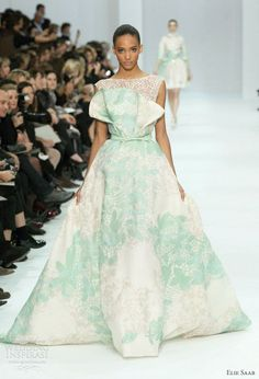 elie saab couture 2012 - white and mint green gown very tasteful, love that color.
