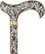 Royal Canes -Bahama Leaf Designer Adjustable Derby Walking Cane With Brass Collar by Royal Canes. $33.50. This cane has a contemporary banana leaf pattern that is the perfect touch of a the causal tropics with its neutral colors of brown, cream and olive green. The deep brown handle ensures the cane is still neutral enough for everyday use and will be admired by men and women alike.  You can easily adjust the height of this lightweight aluminum cane.   There is a stylish brass ...