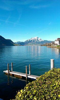 Lake Lucerne with Pilatus Mountain. Seen from Weggis.