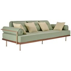 Bespoke Two-Seat Sofa, Brass and Reclaimed Hardwood Frame, P. Tendercool in Stock For Sale at Barcelona Pavillion, Jim Thompson Fabric, Bespoke Sofas, Support Columns, Three Seater Sofa, Aging Wood, Guest Bed, Wooden Crates, Modern Sofa