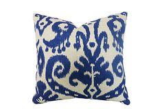LIVING ROOM: Bimini 20x20 Cotton Pillow, Blue on OneKingsLane.com