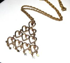 BIG Vintage Gold Cascading Hearts Pendant by SellitAgainVintage, $32.00