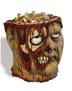 Bleeding Zombie Head Bucket. Great for use as a candy dish, OR as (REALLY GREAT) party favors!
