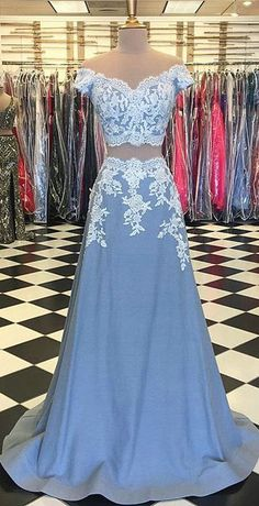 Lace Prom Dresses with Cap Sleeve 2018 Two Piece Prom Party Gowns Appliques