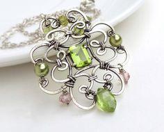 Wire wrap necklace green peridot necklace by CreativityJewellery