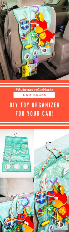 "#AD Hey All! There are all sorts of little tricks you can use to keep things more organized on the go. I made this easy DIY Toy Organizer for my car. You can find other helpful DIY Car Hacks like mine in the new ""Car Hacks"" article on @Autotrader! See the step by step to do it in this photo and plenty more on Autotrader.com for more great hacks for your car! You can also find all the best car-related research and news too! #AutotraderCarHacks #Autotrader #CarHacks"