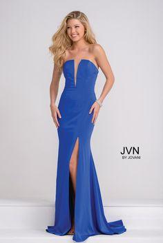 Royal Blue Plunging Neckline High Slit Prom Dress