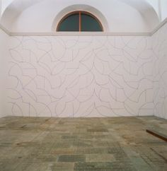 Sol LeWitt, Wall Drawing #146. All two-part combinations of blue arcs from corners and sides and blue straight, not straight and broken lines., September 1972. Blue crayon, dimensions variable