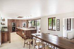 Szép fa felületek - konyha / étkező ötlet, modern stílusban