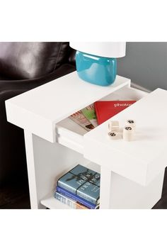 End table with a secret slide-top drawer. Cool!