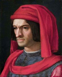 Lorenzo de' Medici,  aka Lorenzo the Magnificent, his full name was Lorenzo di Piero de' Medici (1449-1492). He was the eldest son of Piero di Cosimo de' Medici and Lucrezia Tornabuoni.   He was a diplomat, politician and patron of scholars, artists, and poets.  He is buried in the Medici Chapel in Florence.  Portrait by Agnolo Bronzino.