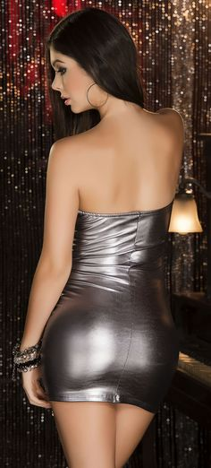 Strapless Metallic Mini Dress, Sexy Mini Dress, Sexy Clubwear