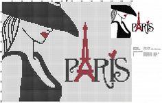 0 point de croix femme et paris - cross stitch paris and girl