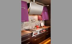 Pop of purple in our Milwaukee kitchen condo remodel  www.remodelwithsaz.com