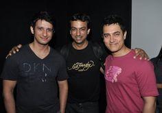 Me with Indian Bollywood Actors Aamir Khan and Sharman Joshi