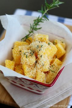 Crispy polenta chips with parmesan and rosemary. Repinned from Vital Outburst clothing vitaloutburst.com