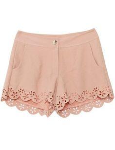 Pink Mid Waist Hollow Shorts  #SheInside