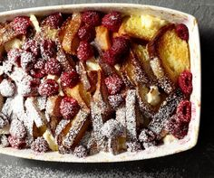 Raspberry French Toast Strata is tangy raspberries and sweet cream custard. I will add some lemon zest too!
