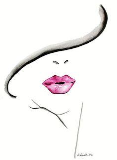 Fashion Illustration impression par Helen Simms intitulé l'énigme de rouge à lèvres, de l'aquarelle simple, élégant, unique cadeau pour elle